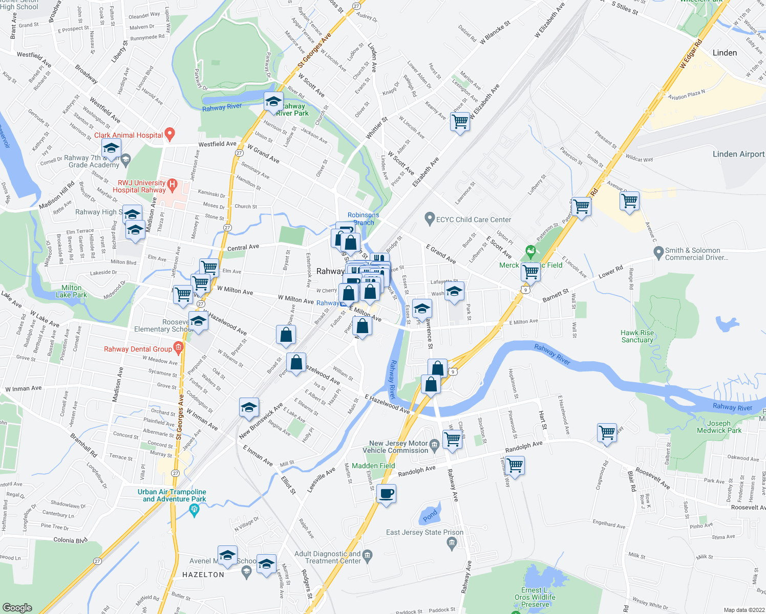map of restaurants, bars, coffee shops, grocery stores, and more near 1477 Main Street in Rahway