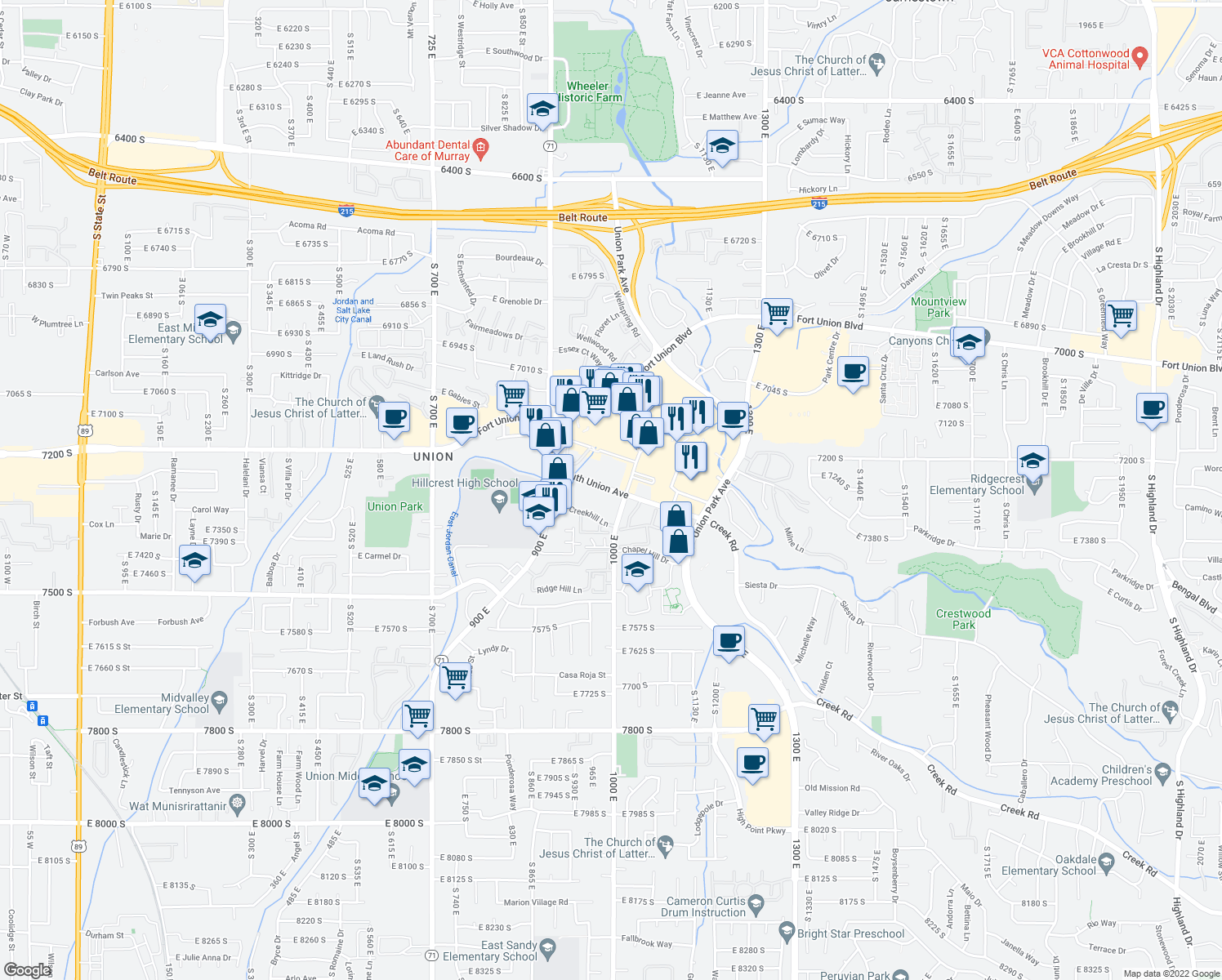 map of restaurants, bars, coffee shops, grocery stores, and more near 985 East 7240 South in Midvale