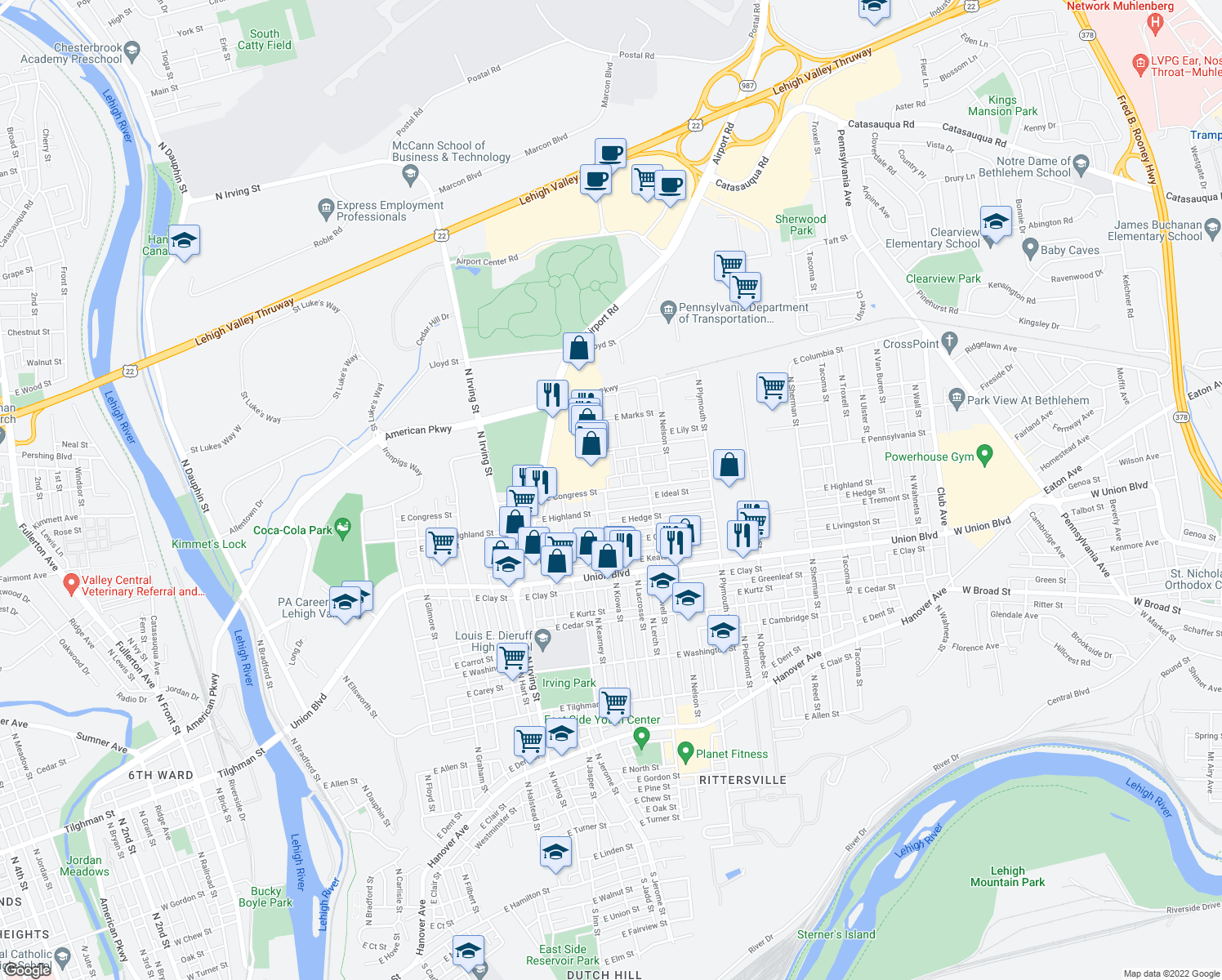 map of restaurants, bars, coffee shops, grocery stores, and more near 1100-1298 East Ideal Street in Allentown
