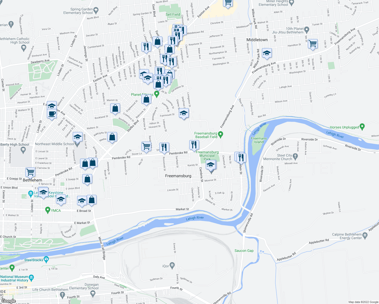 map of restaurants, bars, coffee shops, grocery stores, and more near 433-463 Clearfield Street in Freemansburg
