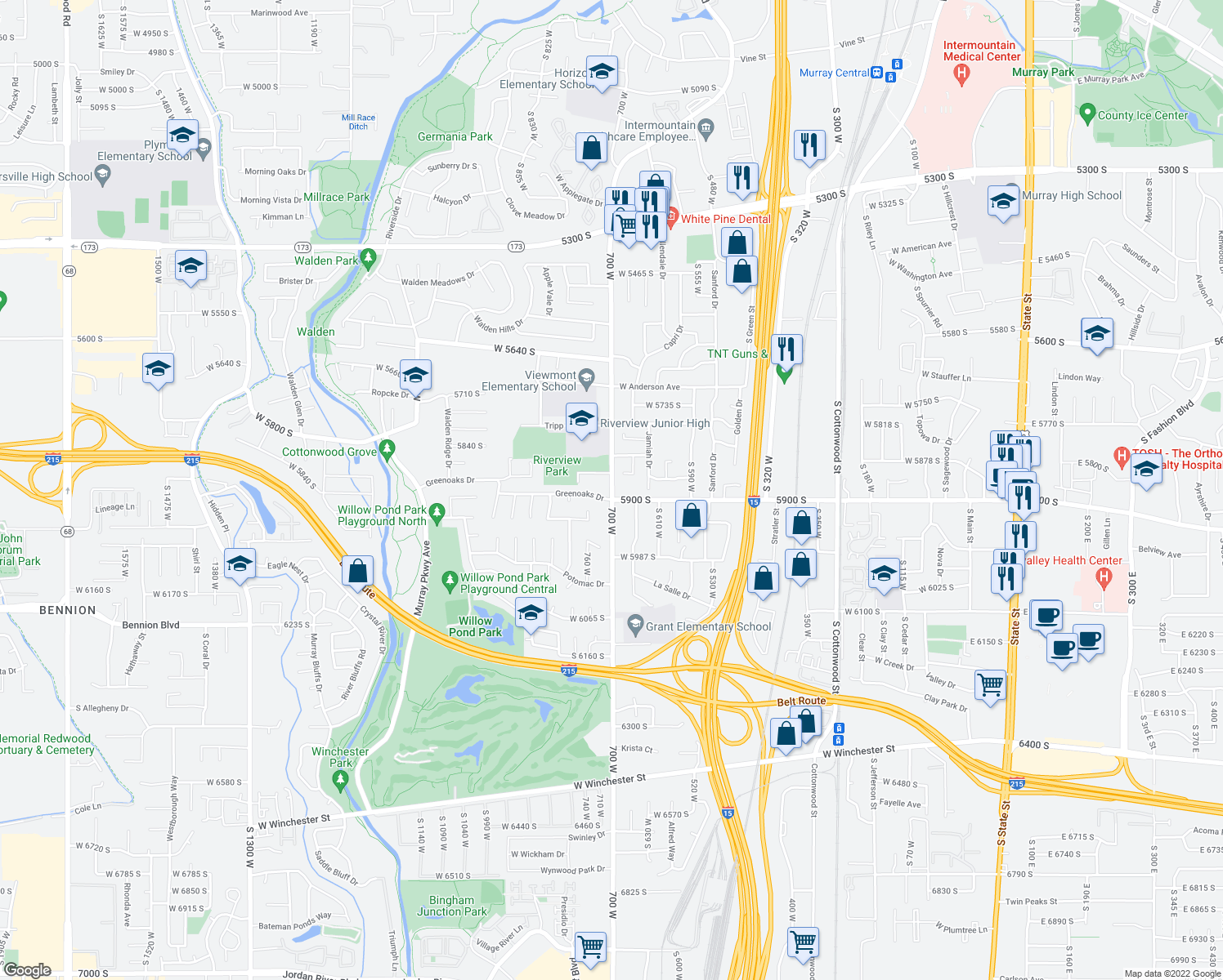 map of restaurants, bars, coffee shops, grocery stores, and more near 717 West 5845 South in Murray