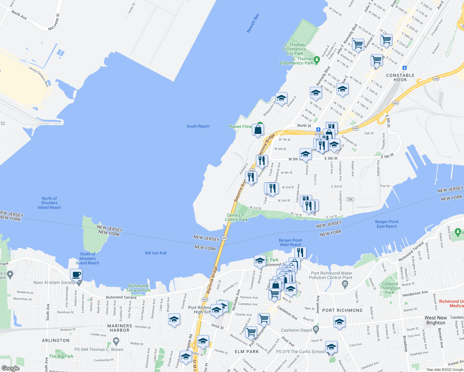 map of restaurants, bars, coffee shops, grocery stores, and more near 185-299 West 2nd Street in Bayonne
