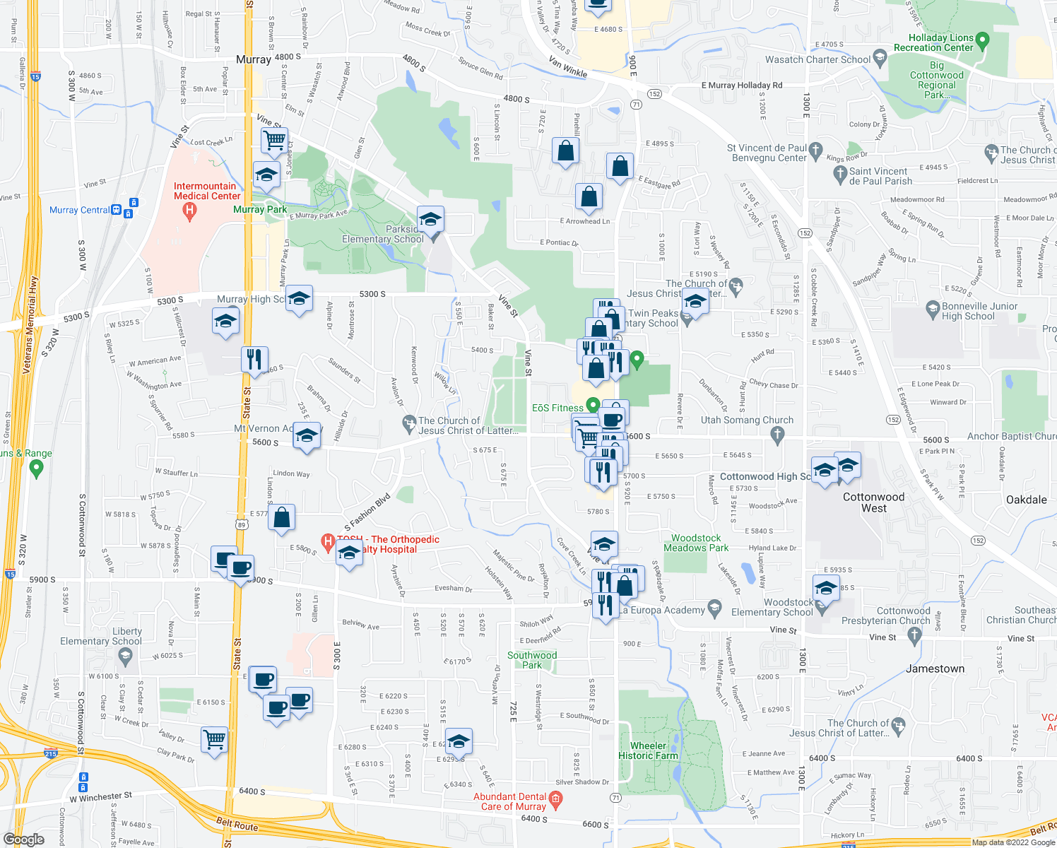 map of restaurants, bars, coffee shops, grocery stores, and more near 5566-5598 South Vine Street in Murray