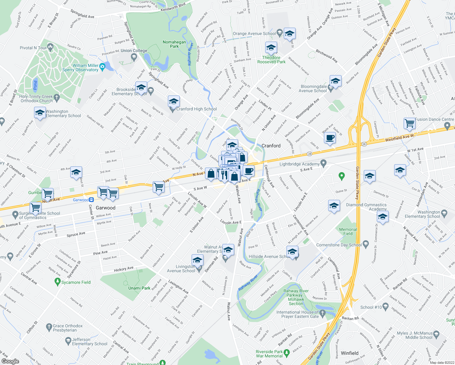 map of restaurants, bars, coffee shops, grocery stores, and more near 2 South Avenue West in Cranford
