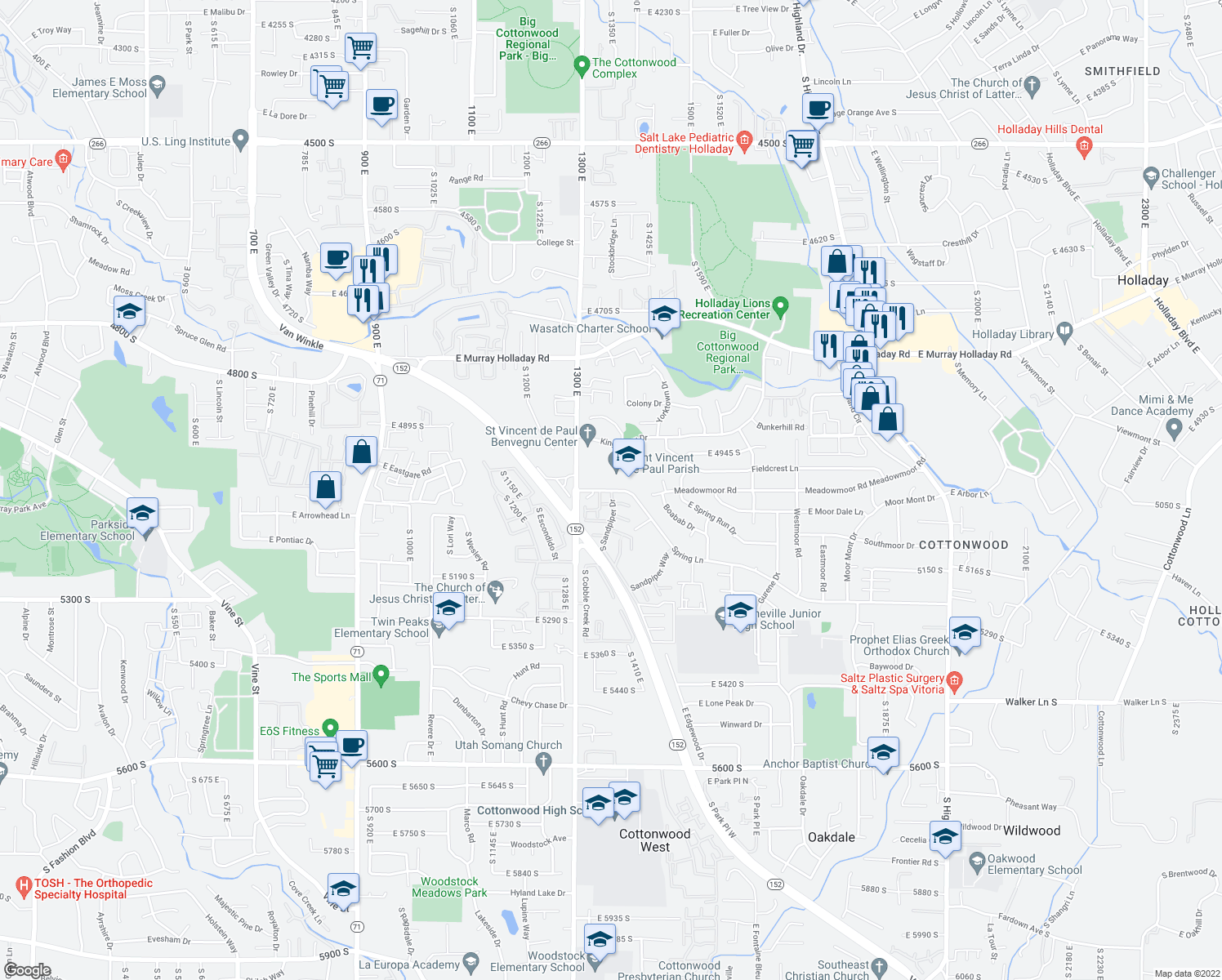 map of restaurants, bars, coffee shops, grocery stores, and more near 1331-1375 East 5000 South in Holladay