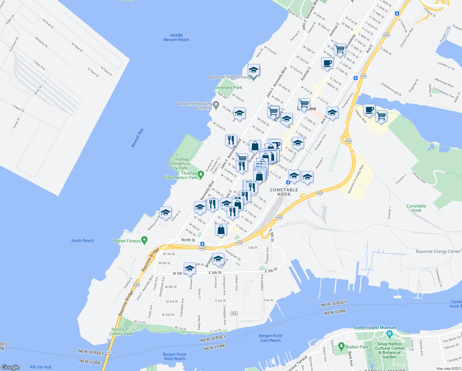 map of restaurants, bars, coffee shops, grocery stores, and more near 76 West 16th Street in Bayonne