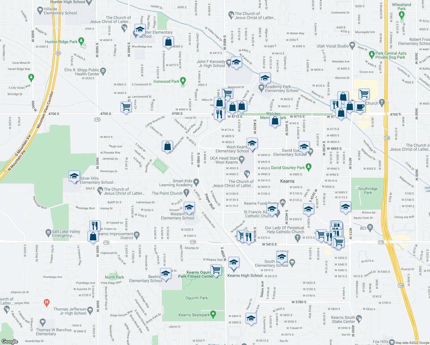 map of restaurants, bars, coffee shops, grocery stores, and more near 4849 West 4985 South in Kearns
