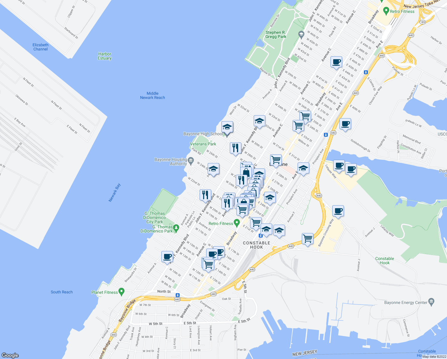 map of restaurants, bars, coffee shops, grocery stores, and more near West 24th Street in Bayonne