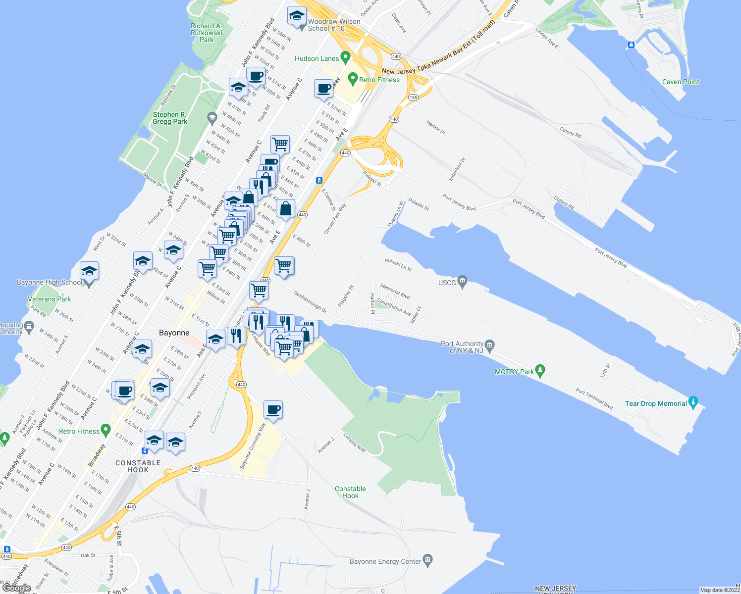 map of restaurants, bars, coffee shops, grocery stores, and more near 1632-1754 Robinson Cir in Bayonne