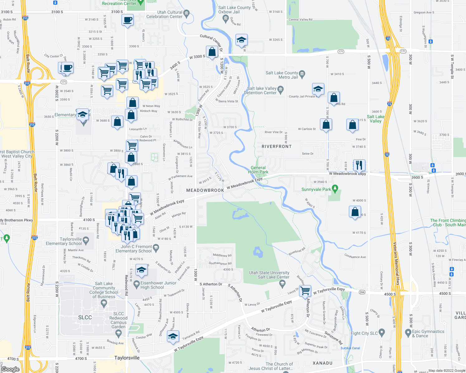 map of restaurants, bars, coffee shops, grocery stores, and more near 1141 West 3900 South in Salt Lake City