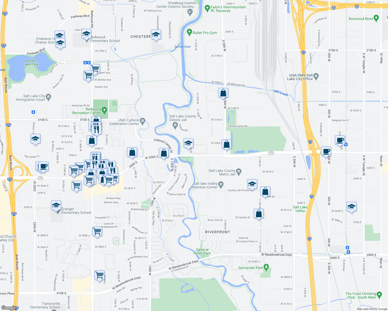 map of restaurants, bars, coffee shops, grocery stores, and more near 1050-1098 West 3300 South in South Salt Lake