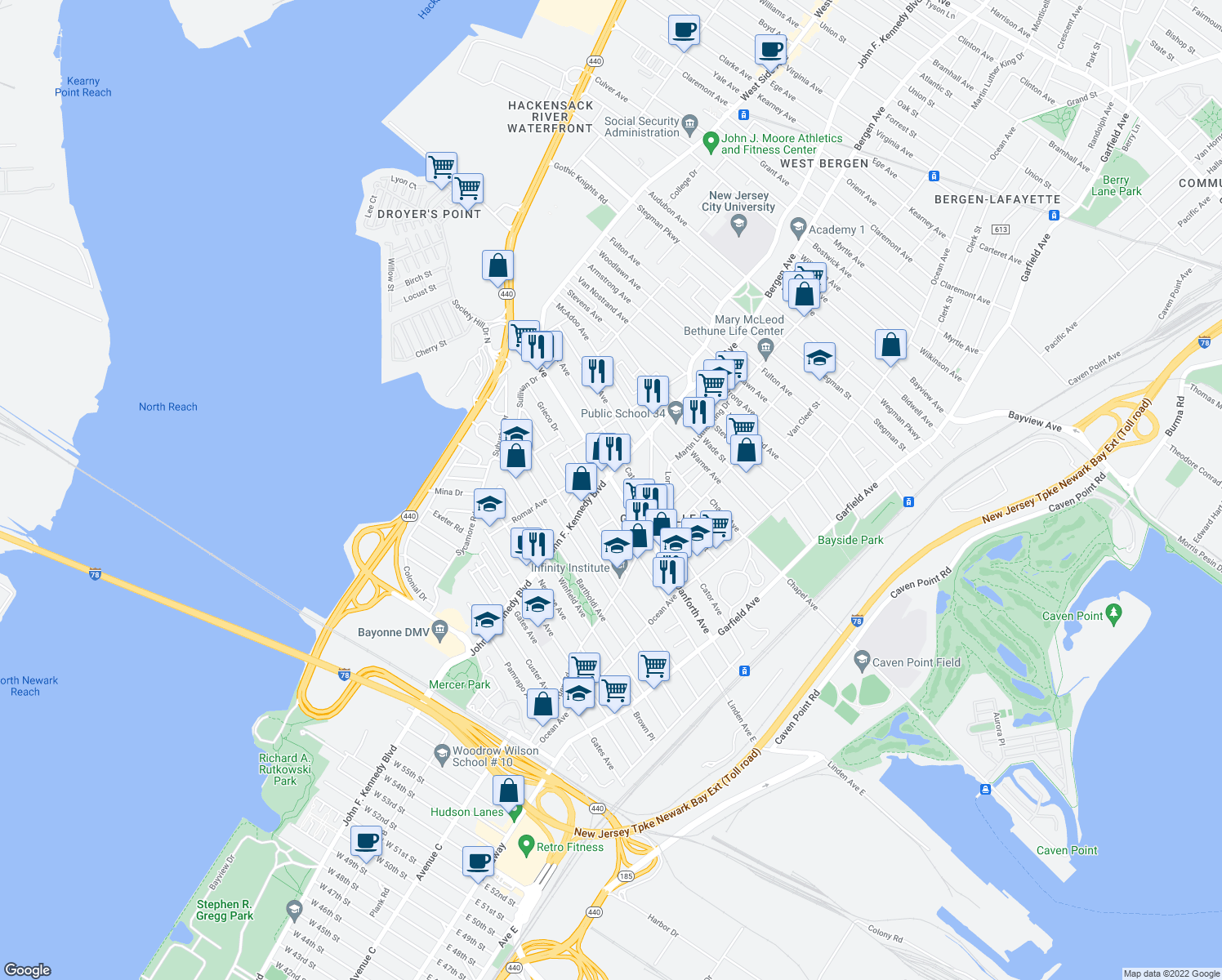 map of restaurants, bars, coffee shops, grocery stores, and more near 183-251 Danforth Ave in Jersey City