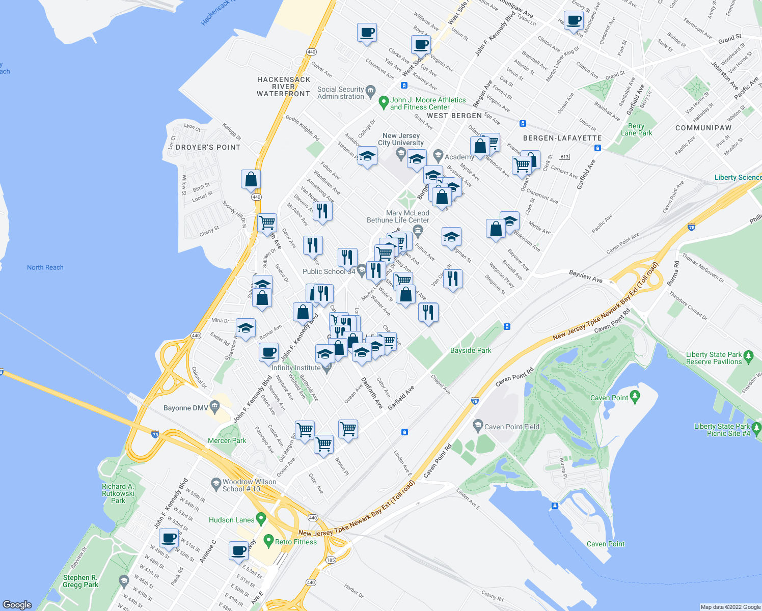 map of restaurants, bars, coffee shops, grocery stores, and more near Rose Ave in Jersey City