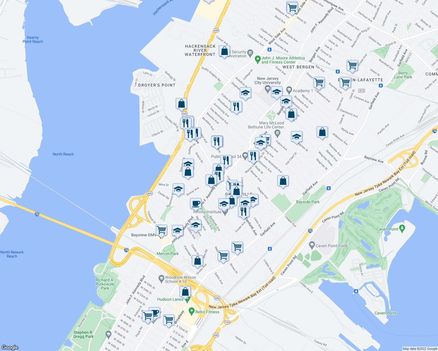 map of restaurants, bars, coffee shops, grocery stores, and more near 268 Danforth Ave in Jersey City