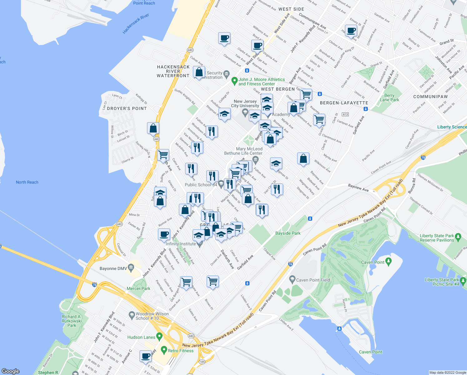 map of restaurants, bars, coffee shops, grocery stores, and more near 120-128 Stevens Avenue in Jersey City