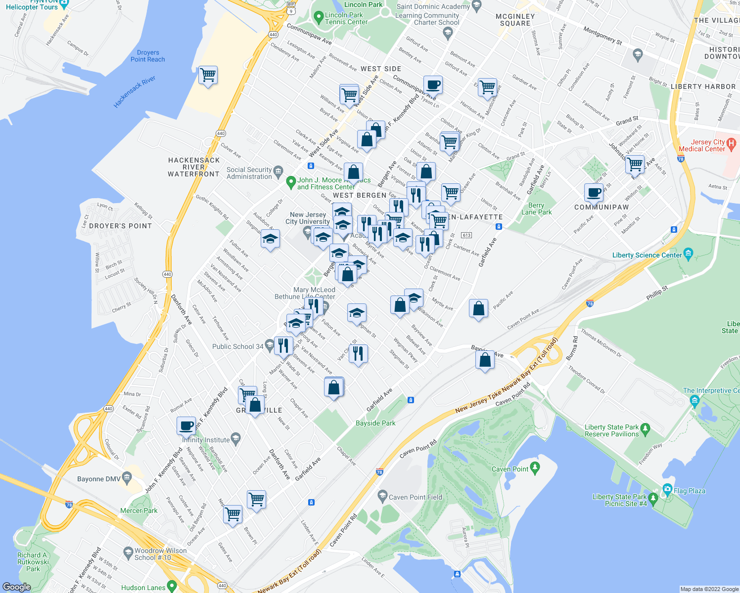 map of restaurants, bars, coffee shops, grocery stores, and more near 91-193 Bidwell Avenue in Jersey City