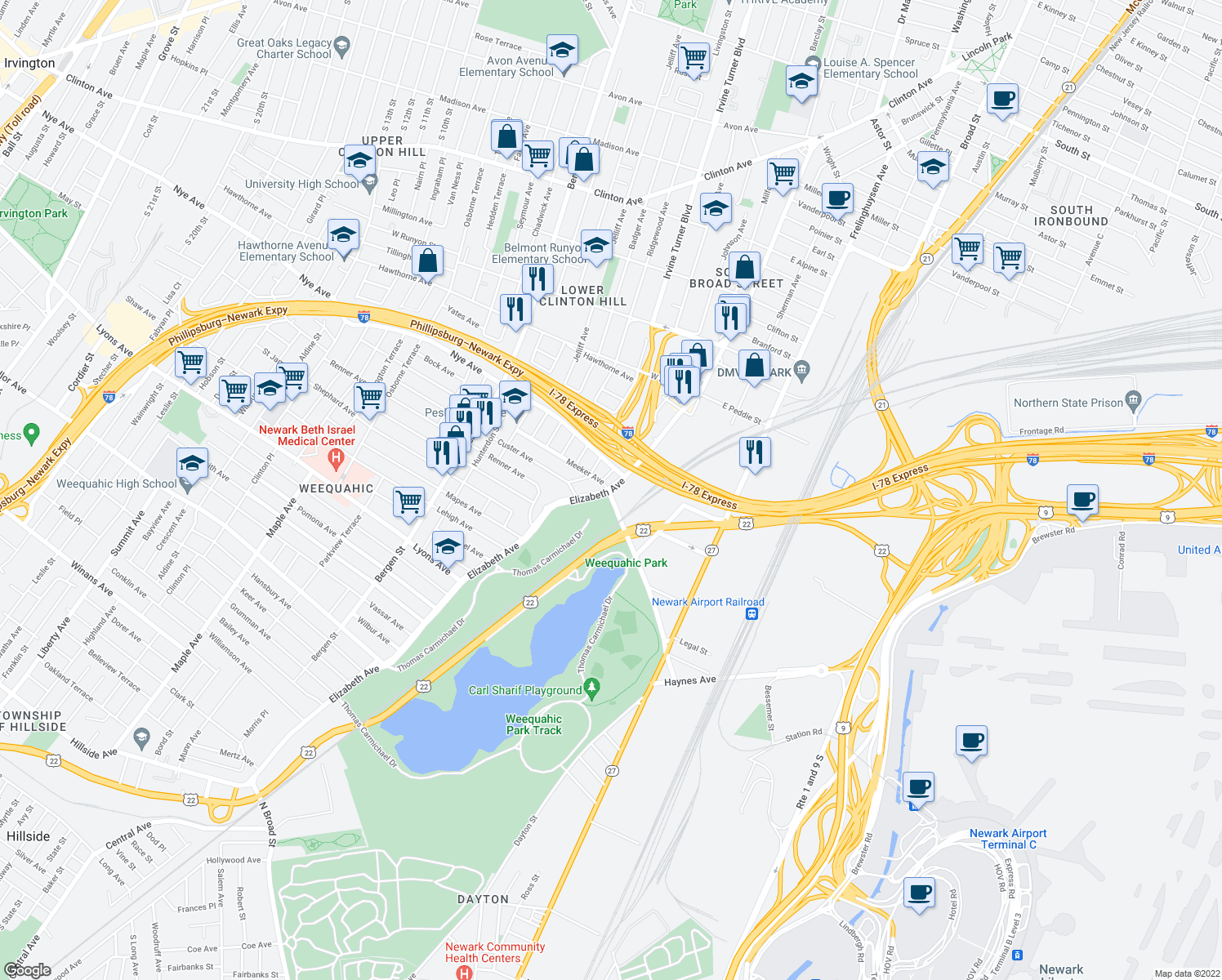 map of restaurants, bars, coffee shops, grocery stores, and more near 1-15 Watson Avenue in Newark