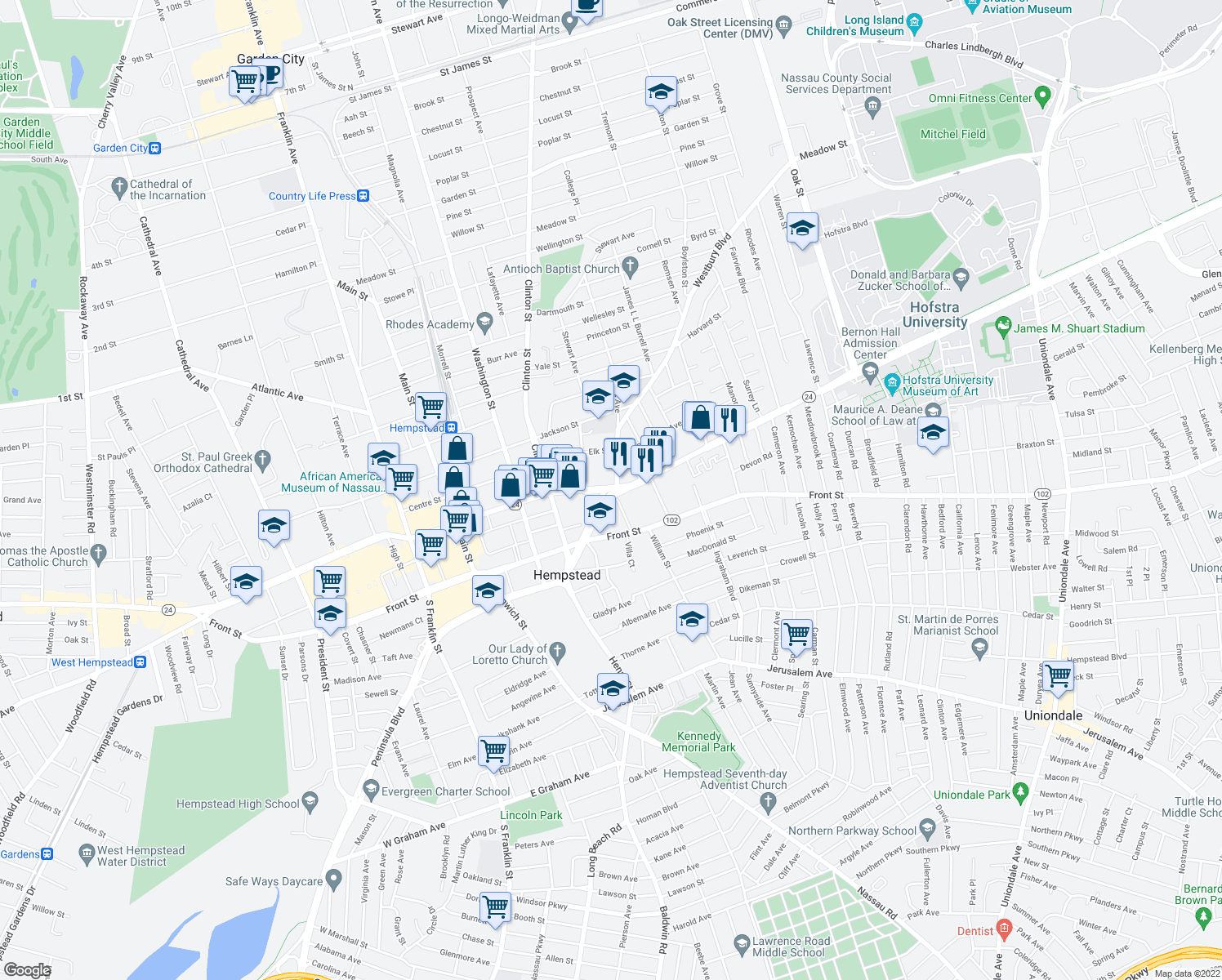 map of restaurants, bars, coffee shops, grocery stores, and more near 443-457 Fulton Avenue in Hempstead