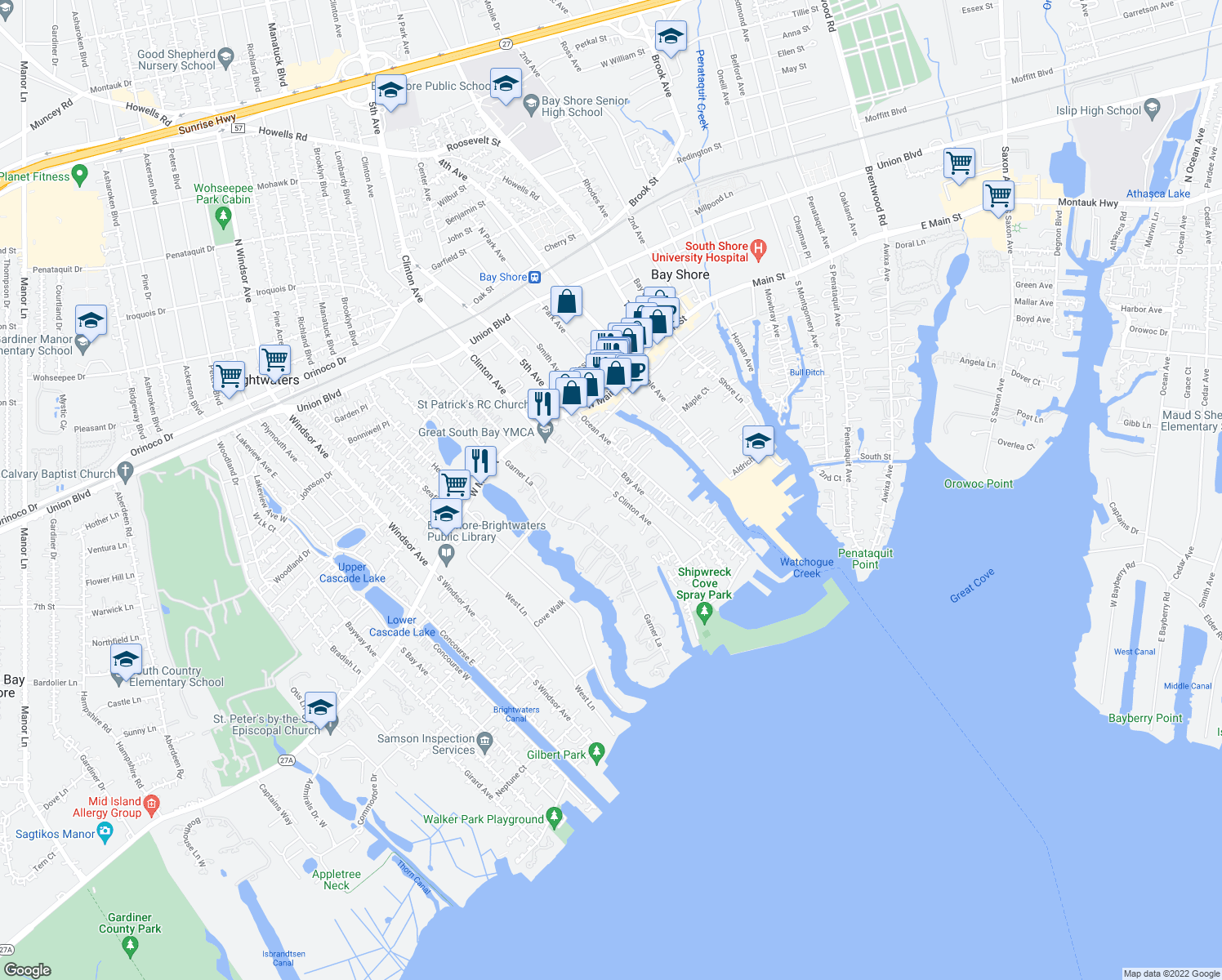 map of restaurants, bars, coffee shops, grocery stores, and more near 54 Clinton Ave in Bay Shore