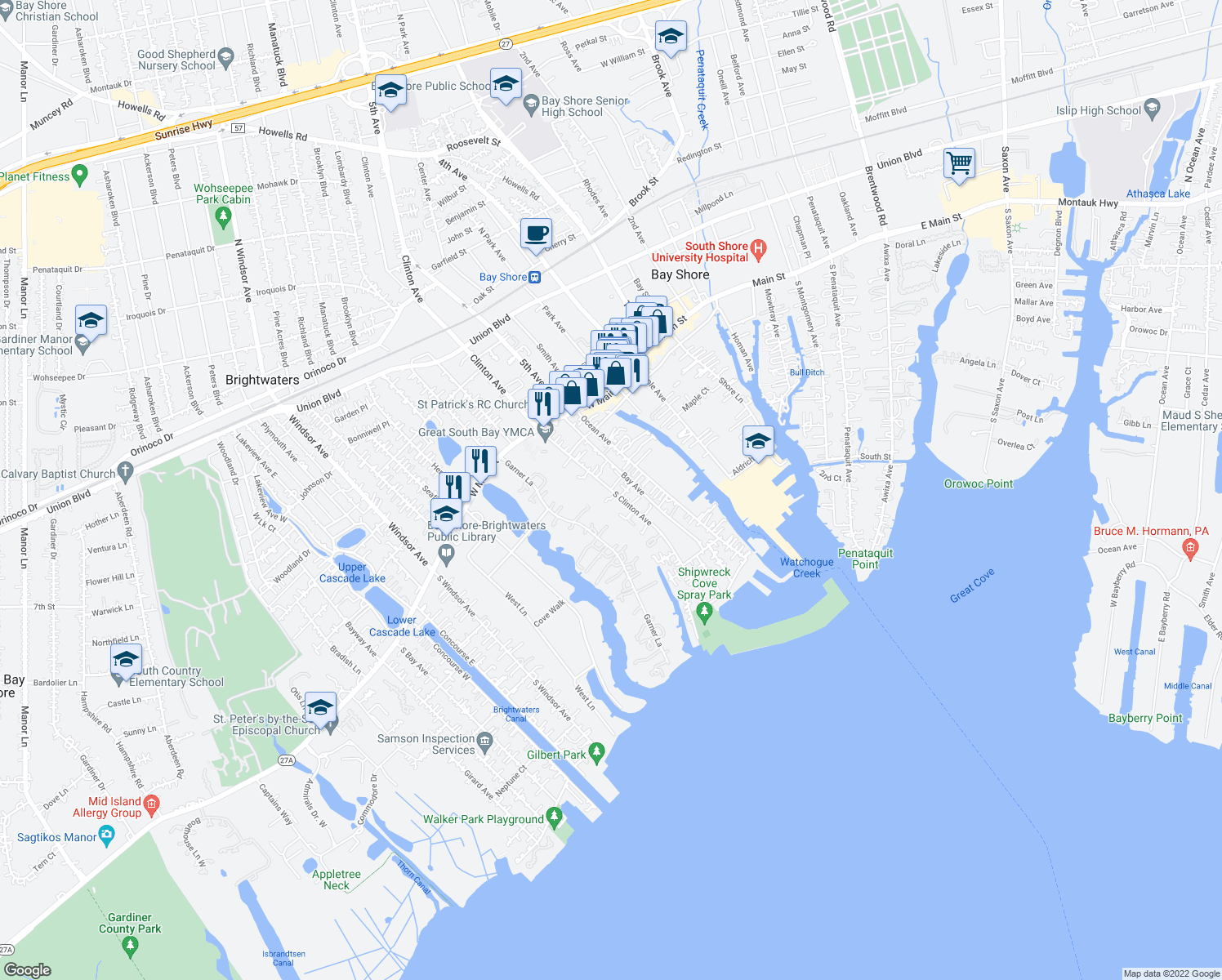map of restaurants, bars, coffee shops, grocery stores, and more near 54 Clinton Avenue in Bay Shore