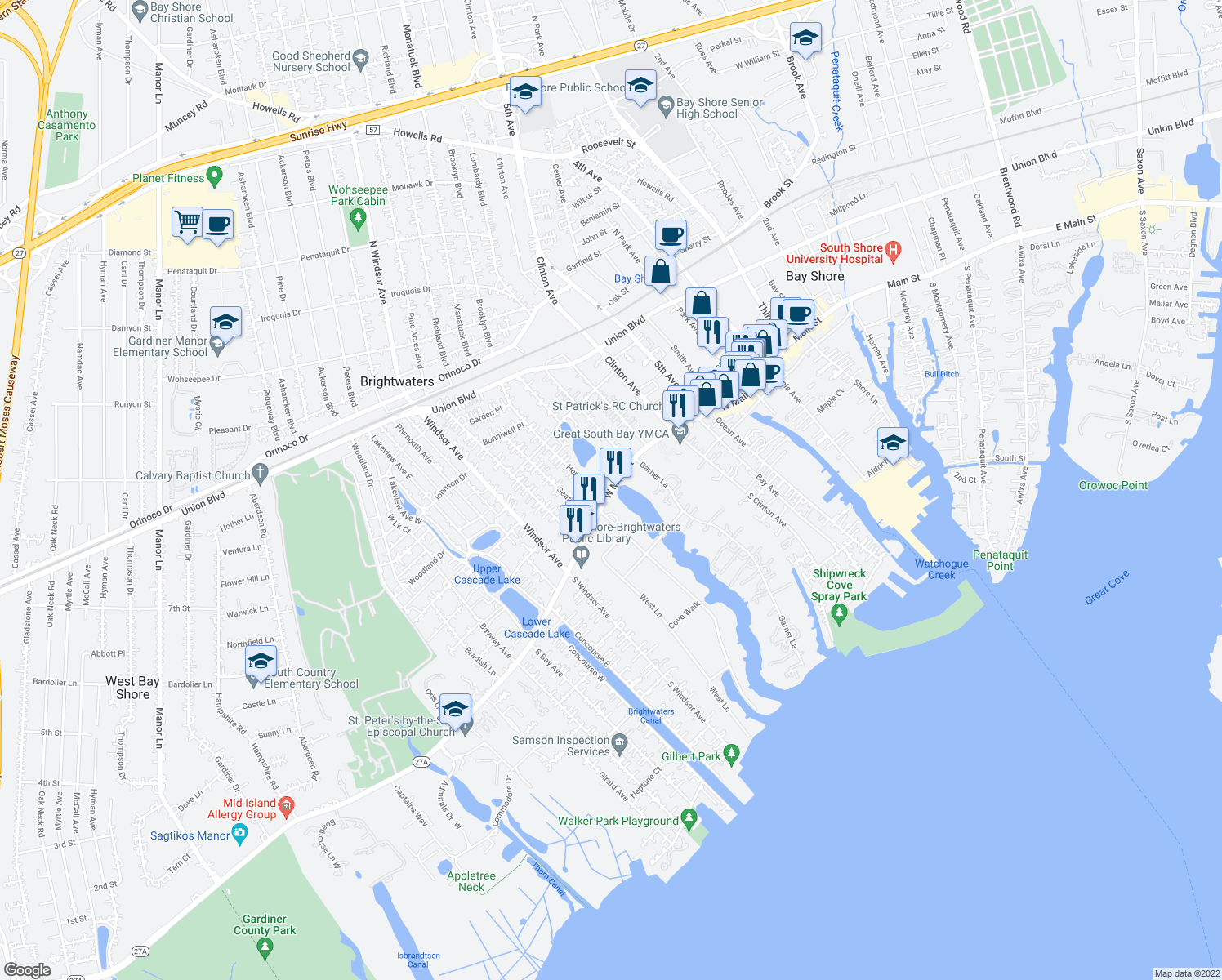 map of restaurants, bars, coffee shops, grocery stores, and more near 260 Montauk Hwy in Bay Shore