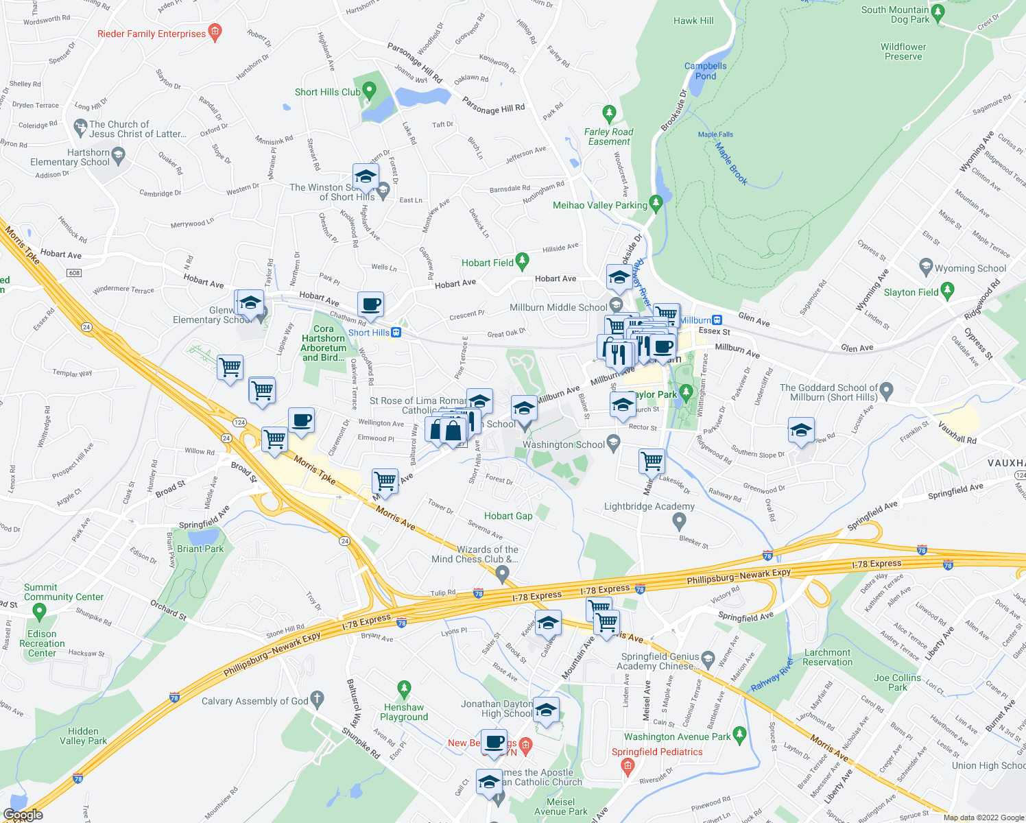 map of restaurants, bars, coffee shops, grocery stores, and more near 49 Short Hills Circle in Millburn