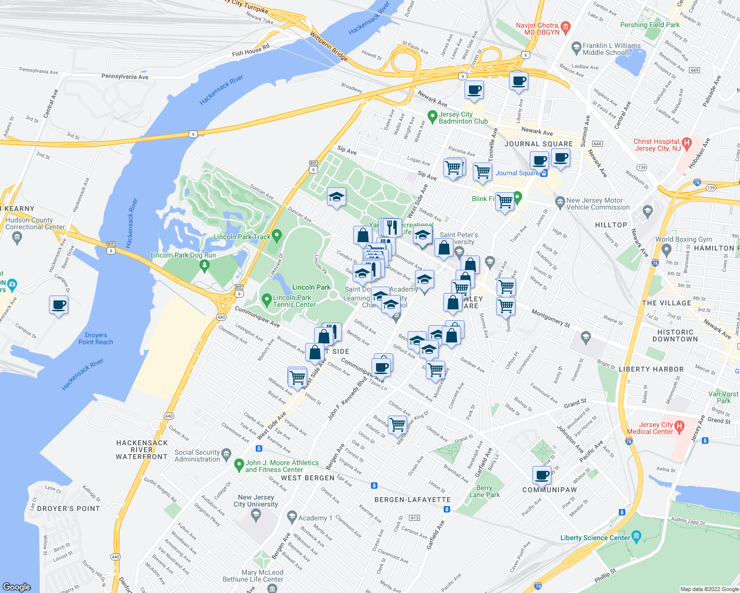 map of restaurants, bars, coffee shops, grocery stores, and more near 718 West Side Avenue in Jersey City