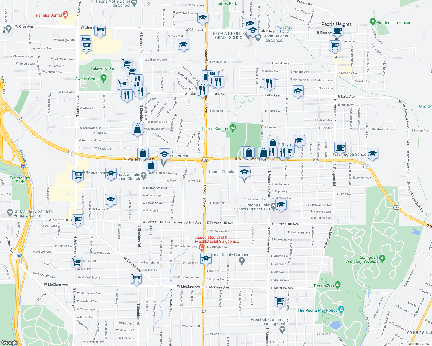 map of restaurants, bars, coffee shops, grocery stores, and more near 3613 North Peoria Avenue in Peoria