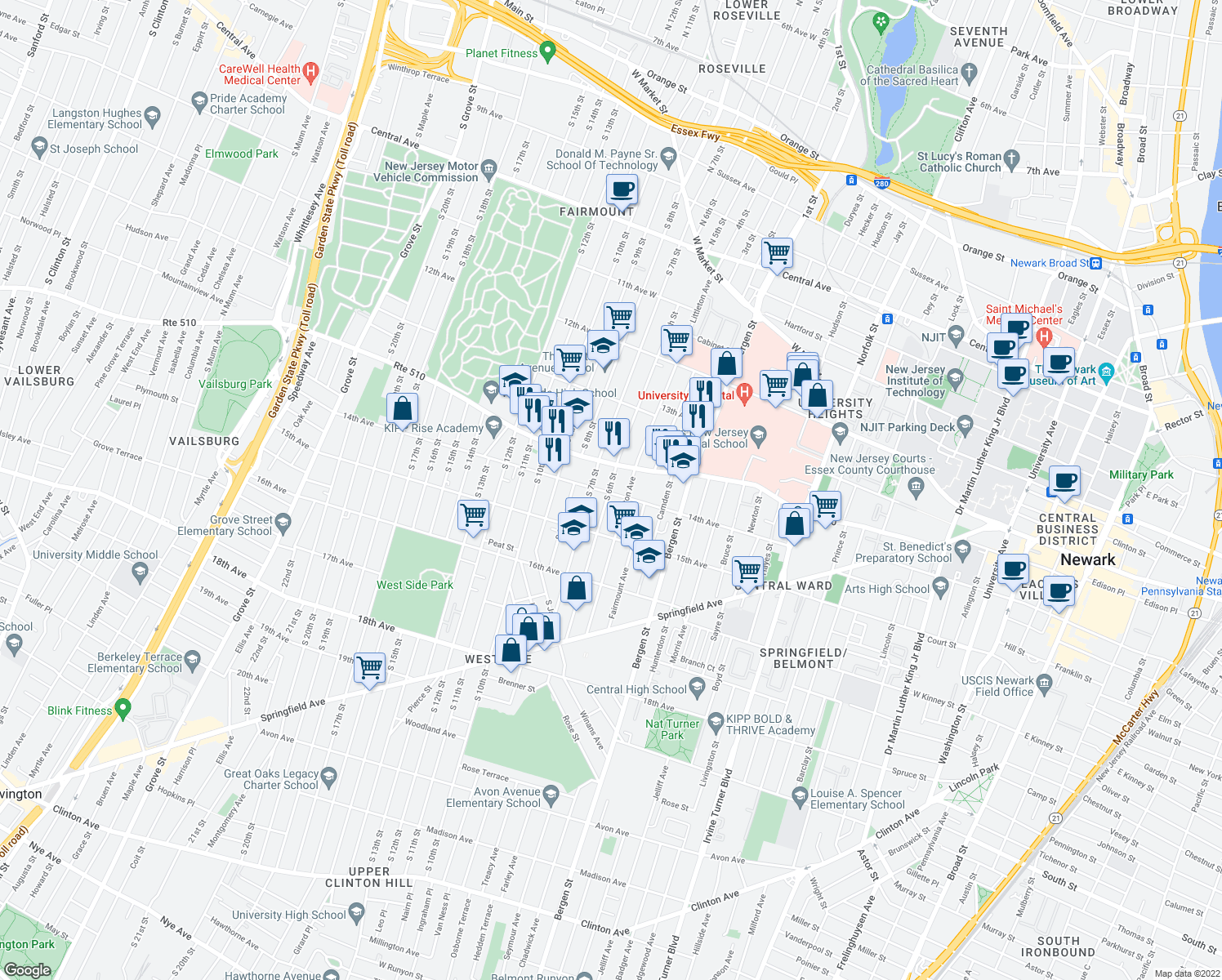 map of restaurants, bars, coffee shops, grocery stores, and more near 271 South 6th Street in Newark