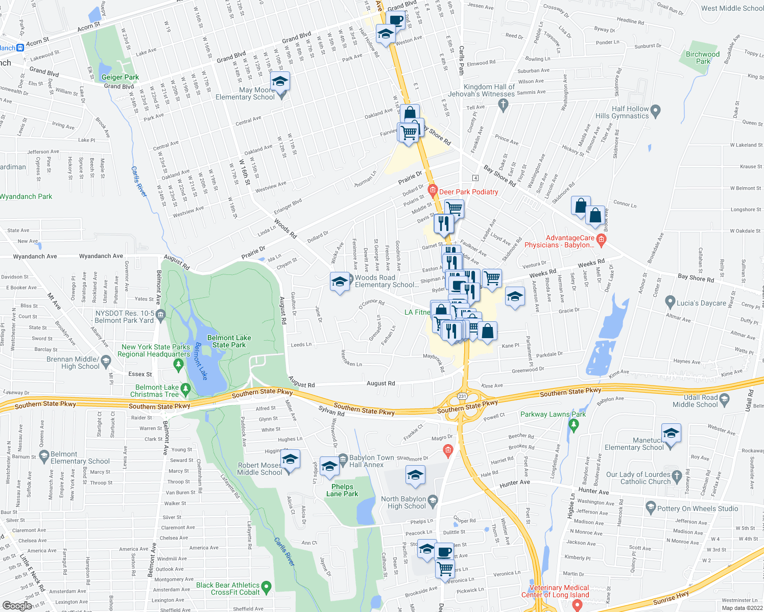 map of restaurants, bars, coffee shops, grocery stores, and more near 499 Grenadon Ln in North Babylon