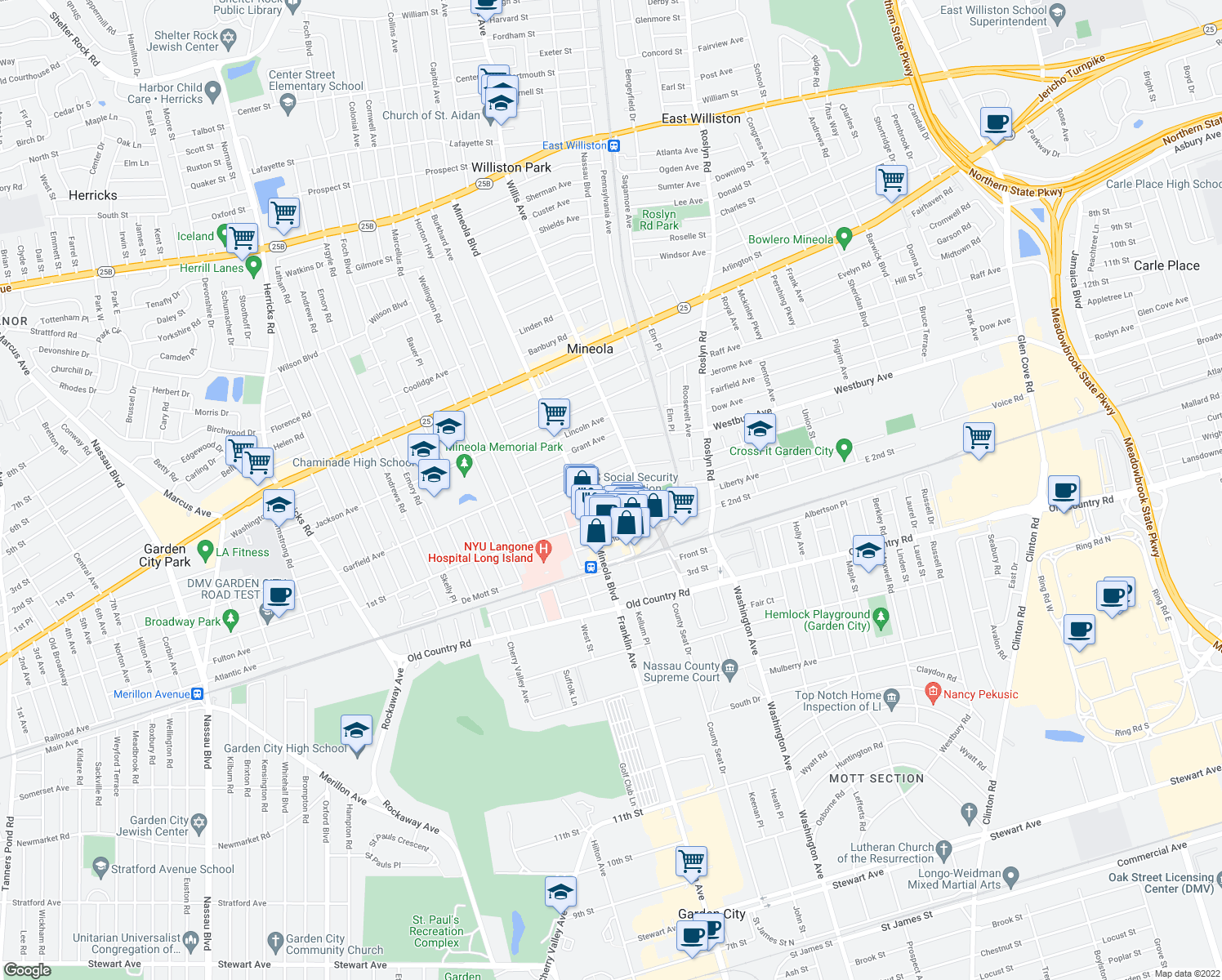 map of restaurants, bars, coffee shops, grocery stores, and more near Harrison Ave & Main St in Mineola