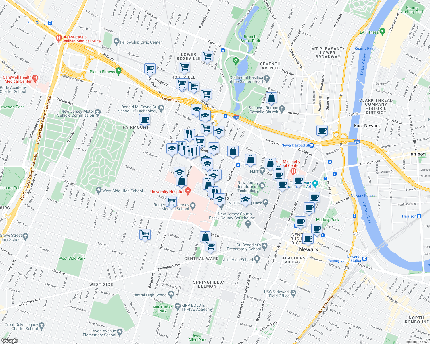 map of restaurants, bars, coffee shops, grocery stores, and more near 45 Hartford St in Newark