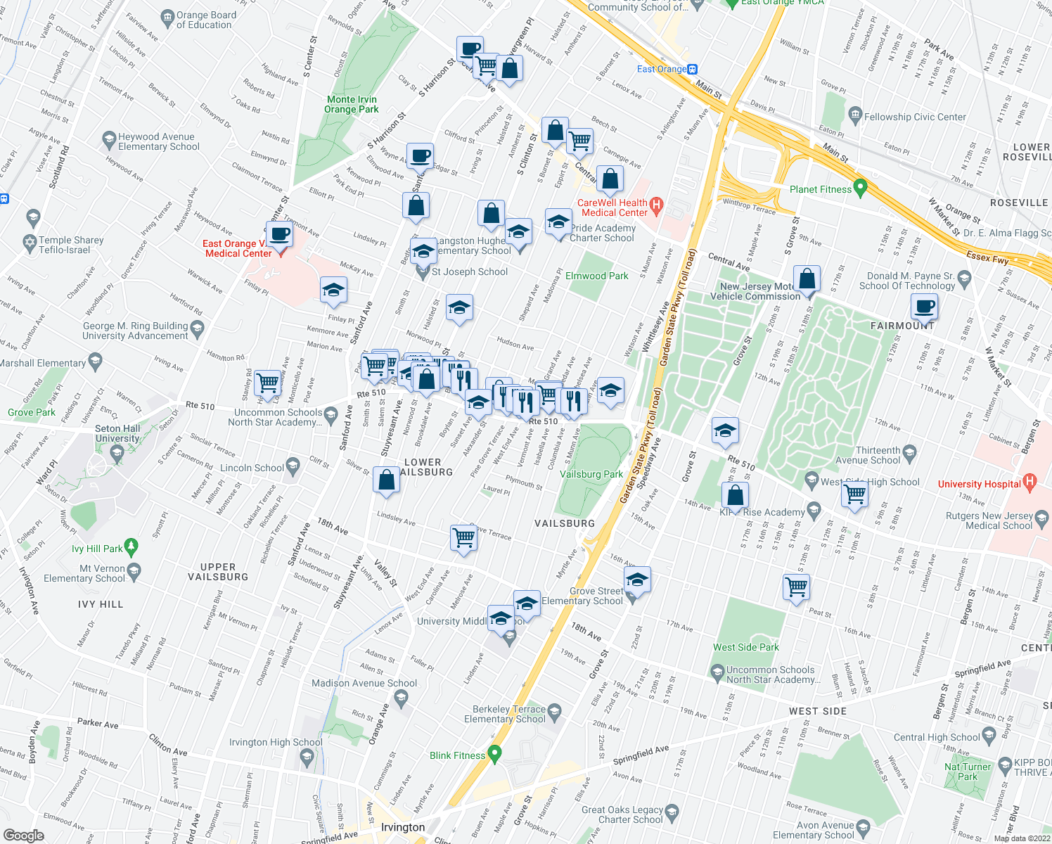 map of restaurants, bars, coffee shops, grocery stores, and more near S Orange Ave & Grand Ave in Newark