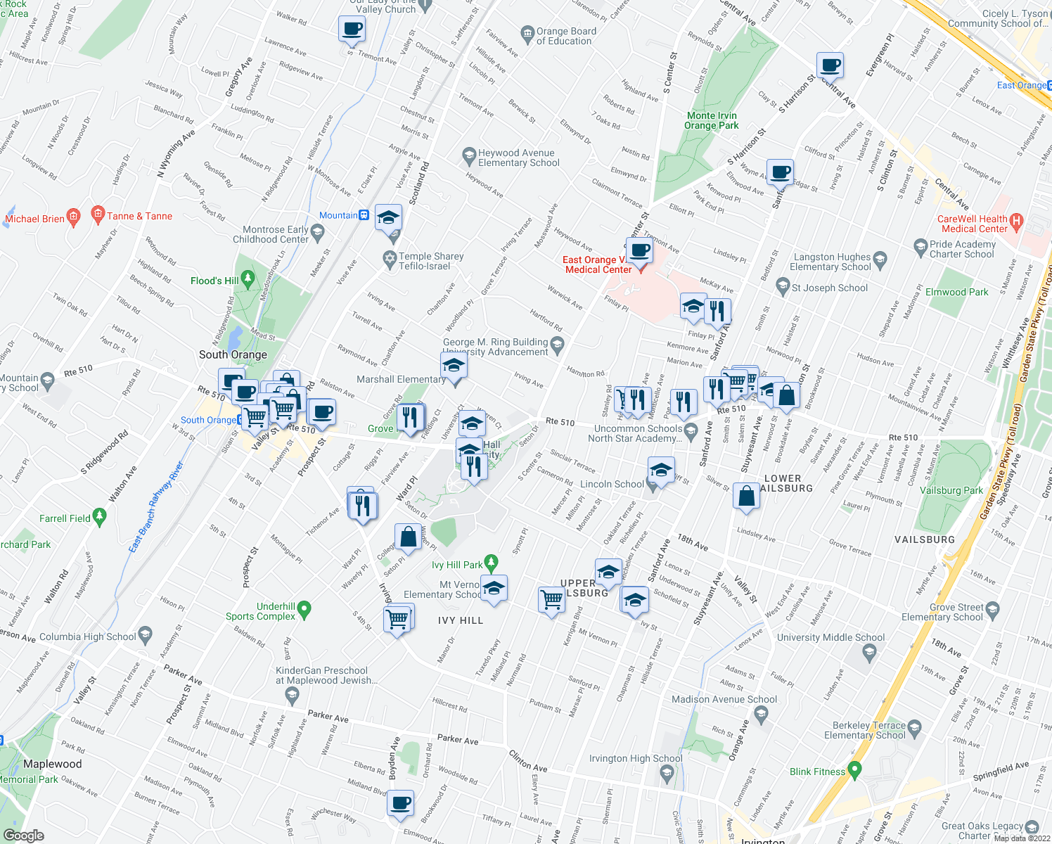 map of restaurants, bars, coffee shops, grocery stores, and more near 544-548 South Orange Avenue in South Orange