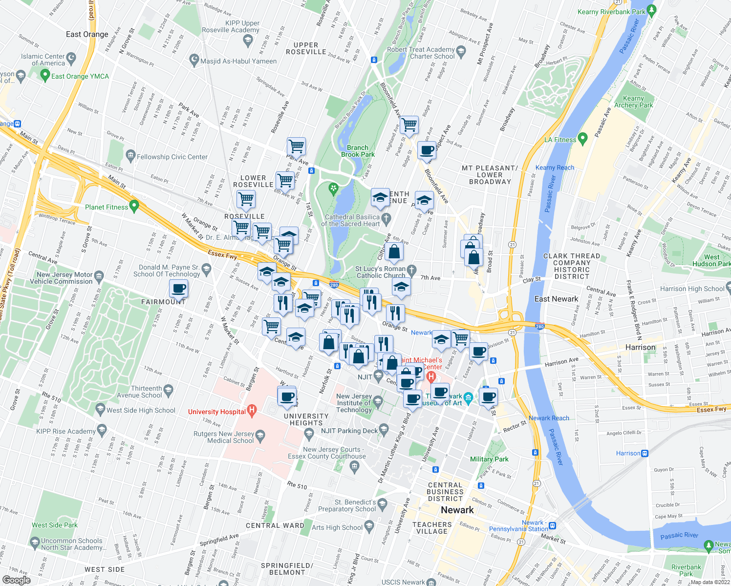 map of restaurants, bars, coffee shops, grocery stores, and more near 8th Avenue in Newark