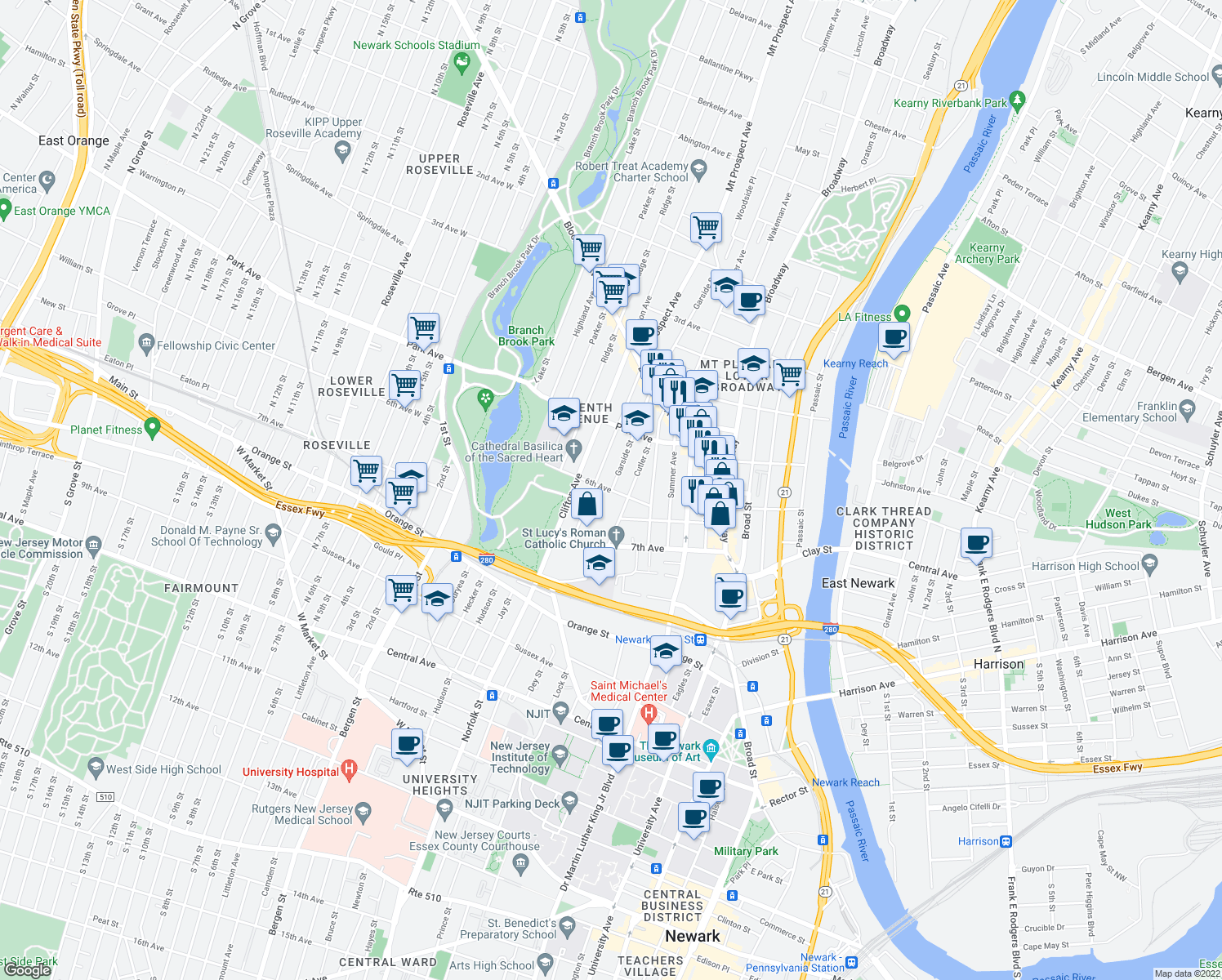 map of restaurants, bars, coffee shops, grocery stores, and more near Garside Street & Victoria Avenue in Newark