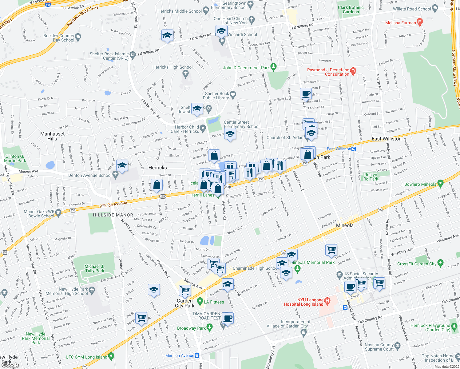 map of restaurants, bars, coffee shops, grocery stores, and more near 490 Hillside Ave in Mineola