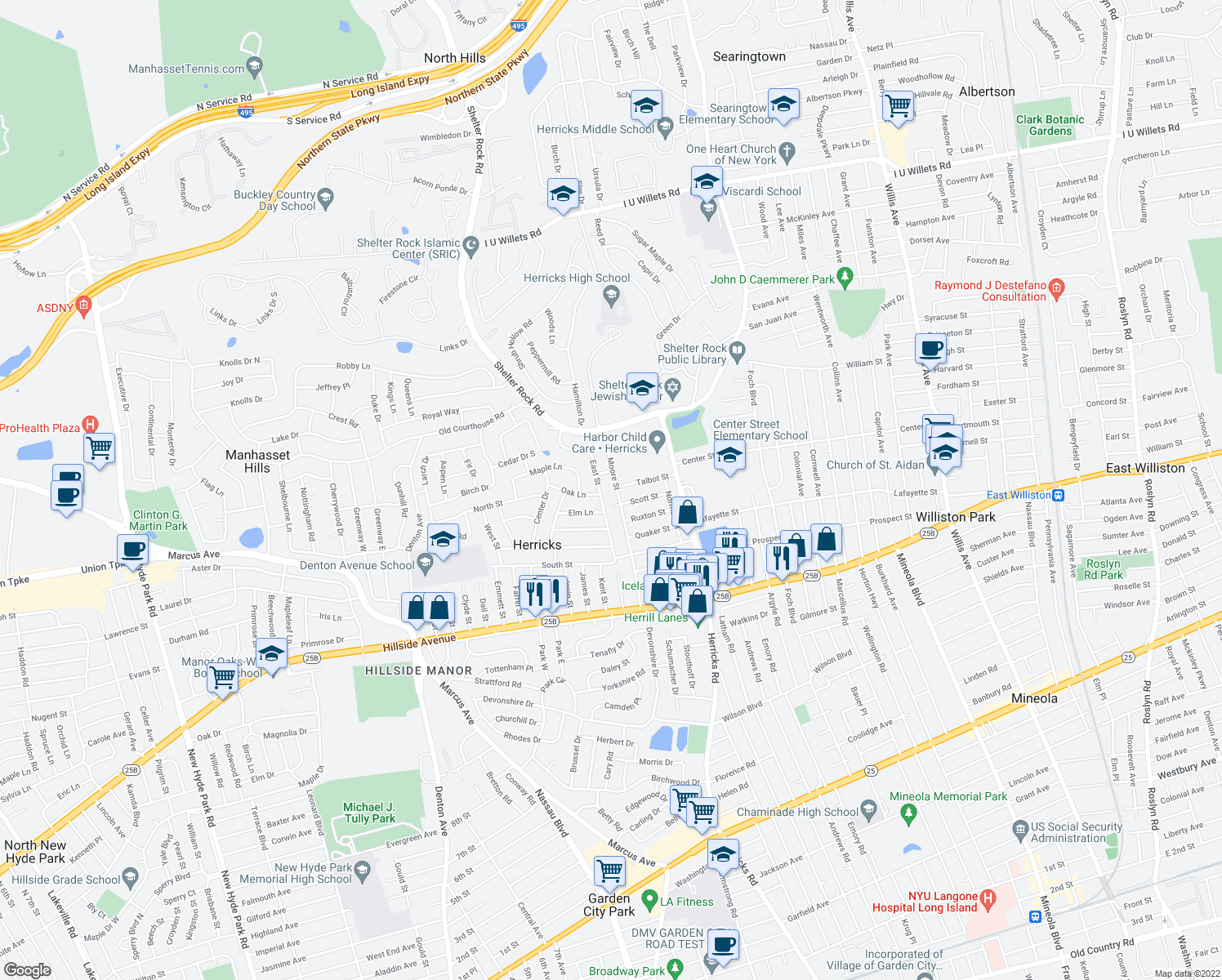map of restaurants, bars, coffee shops, grocery stores, and more near 2 Union Street in New Hyde Park
