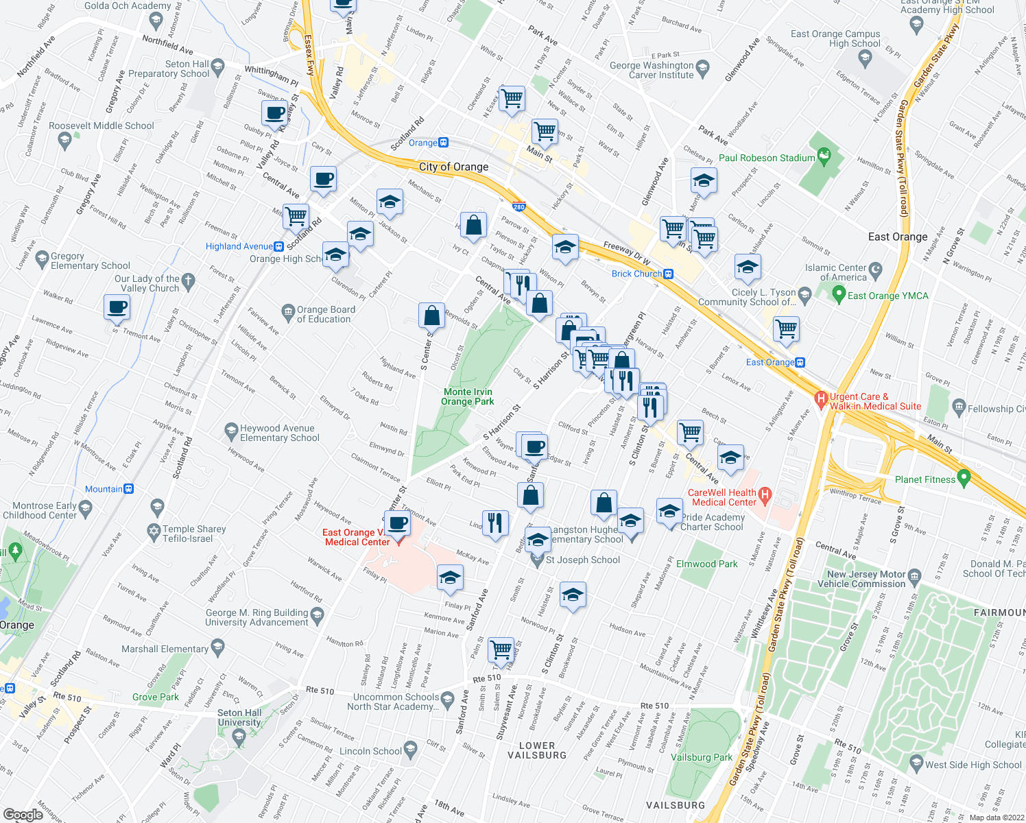 map of restaurants, bars, coffee shops, grocery stores, and more near 313 South Harrison Street in East Orange