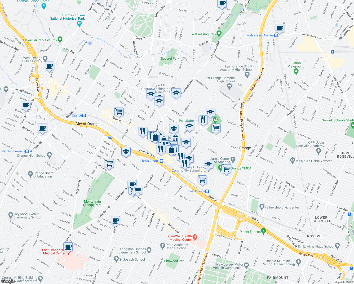map of restaurants, bars, coffee shops, grocery stores, and more near 49 Prospect Street in East Orange