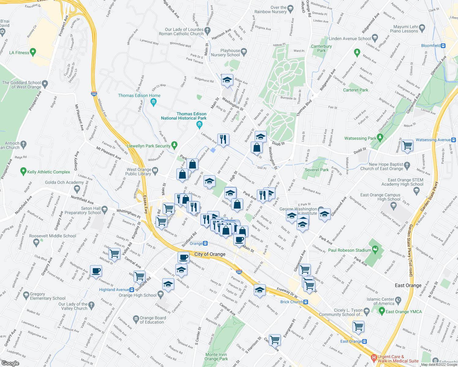 map of restaurants, bars, coffee shops, grocery stores, and more near Park Ave & High St in Orange