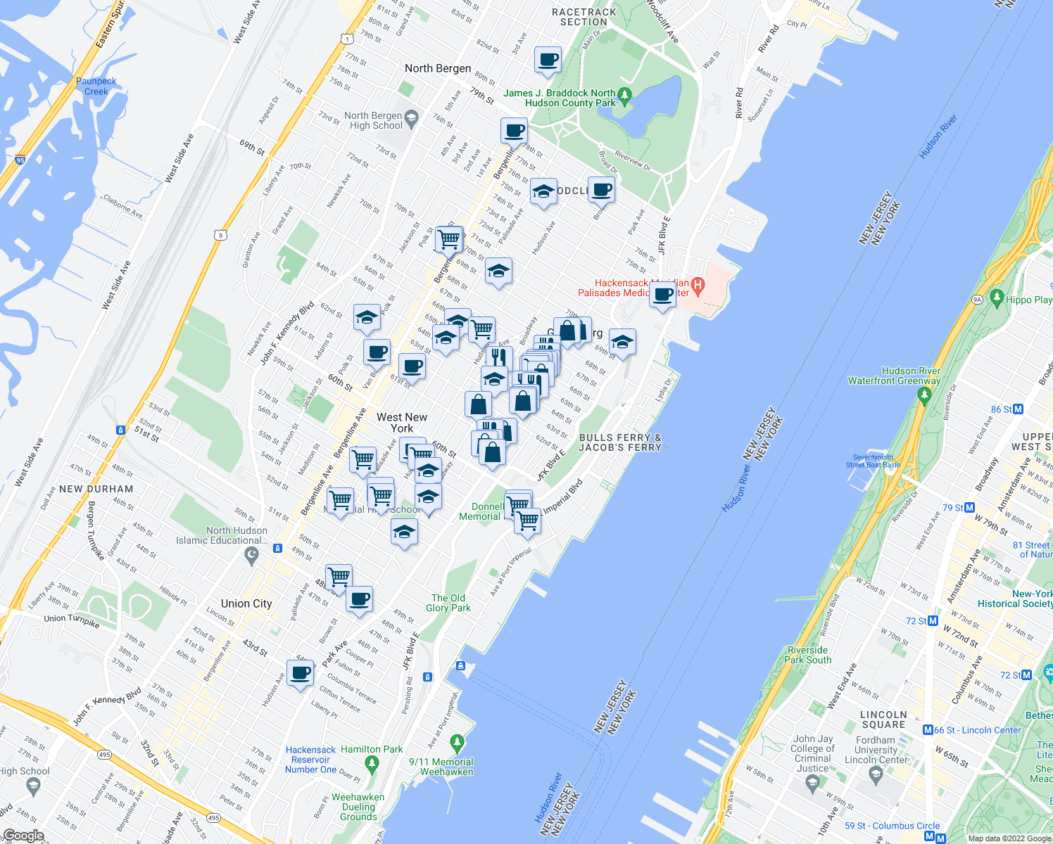 map of restaurants, bars, coffee shops, grocery stores, and more near 6210 Park Avenue in West New York
