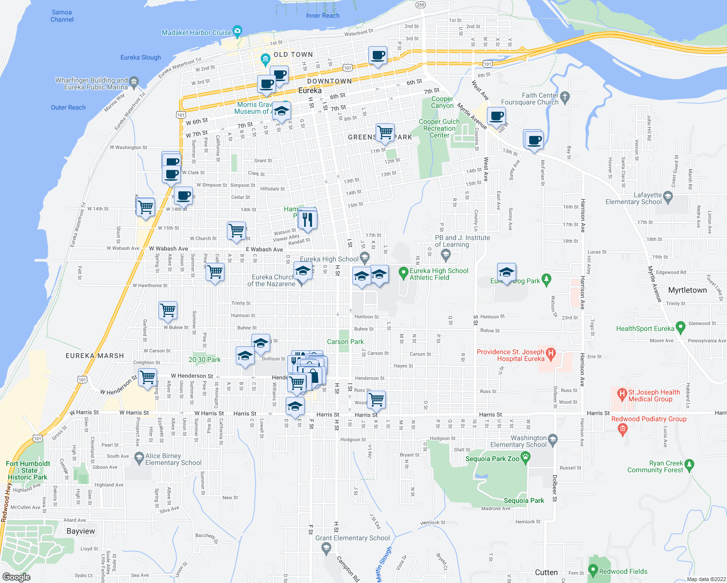 map of restaurants, bars, coffee shops, grocery stores, and more near 2100-2198 J Street in Eureka