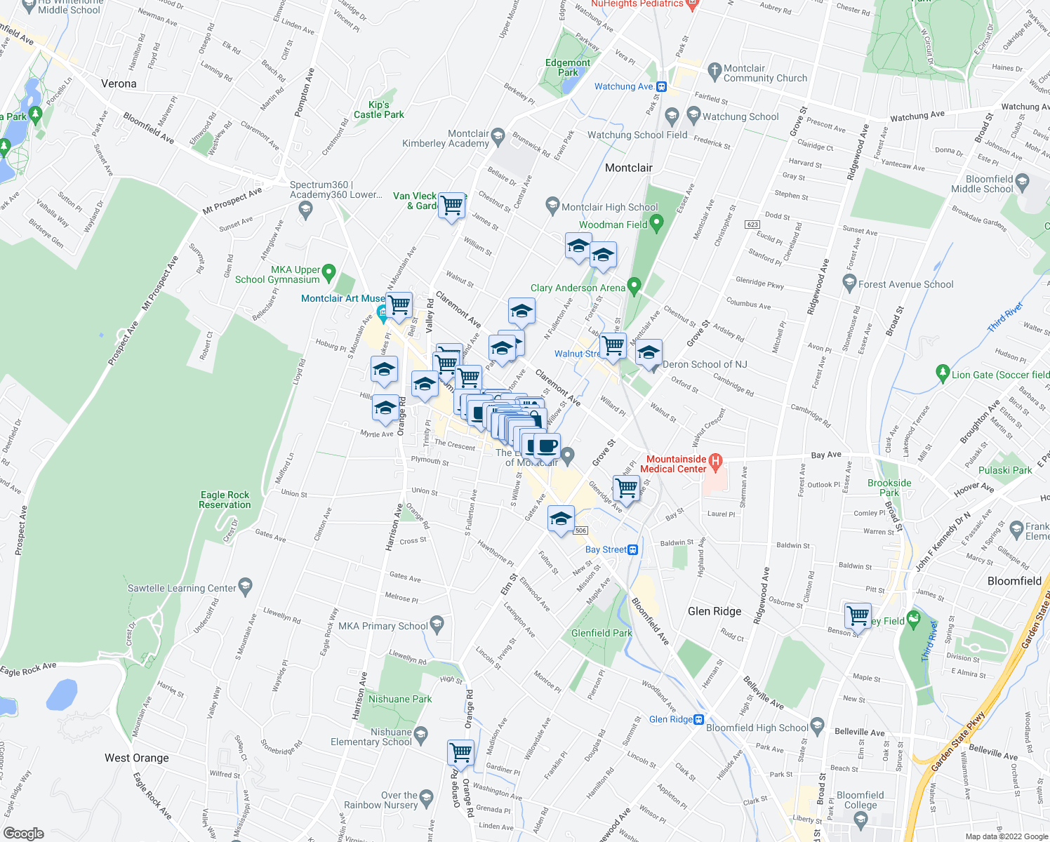map of restaurants, bars, coffee shops, grocery stores, and more near 14 Forest Street in Montclair