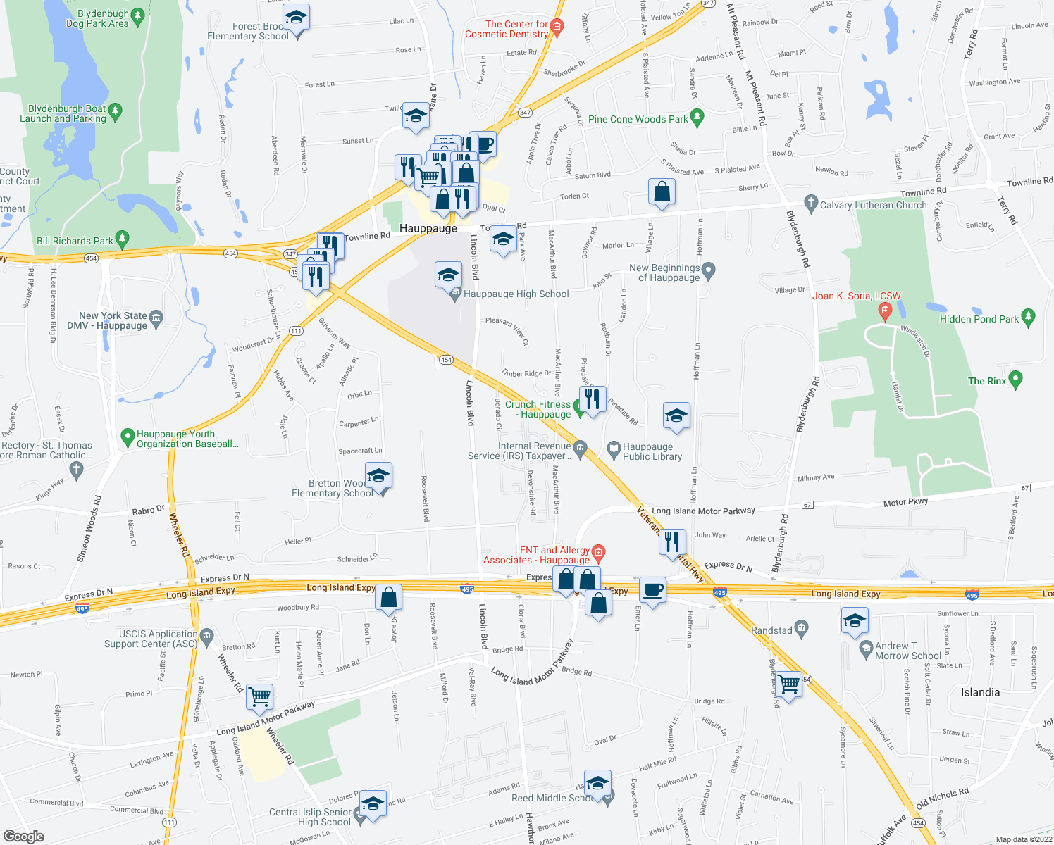 map of restaurants, bars, coffee shops, grocery stores, and more near 101-199 Dorado Circle in Hauppauge