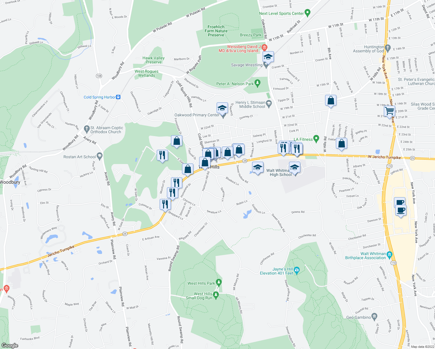 map of restaurants, bars, coffee shops, grocery stores, and more near 4A Bluebird Ln in Huntington