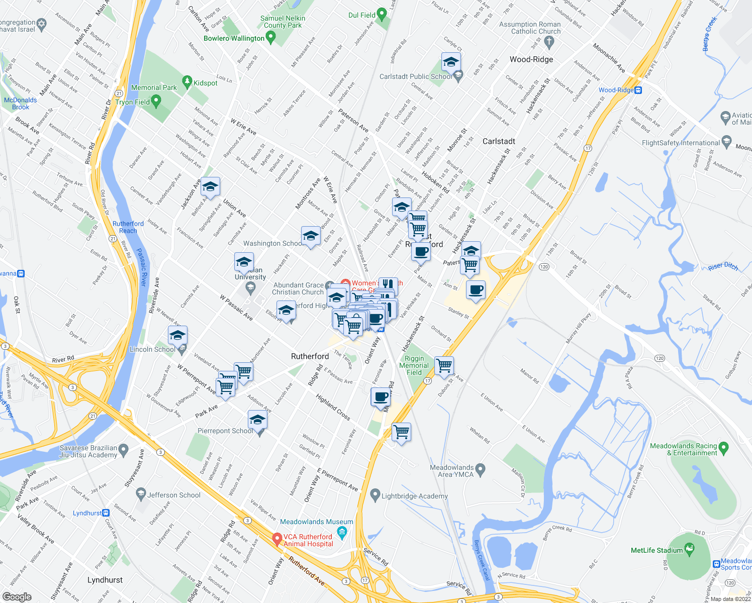 map of restaurants, bars, coffee shops, grocery stores, and more near 17 West Erie Avenue in Rutherford