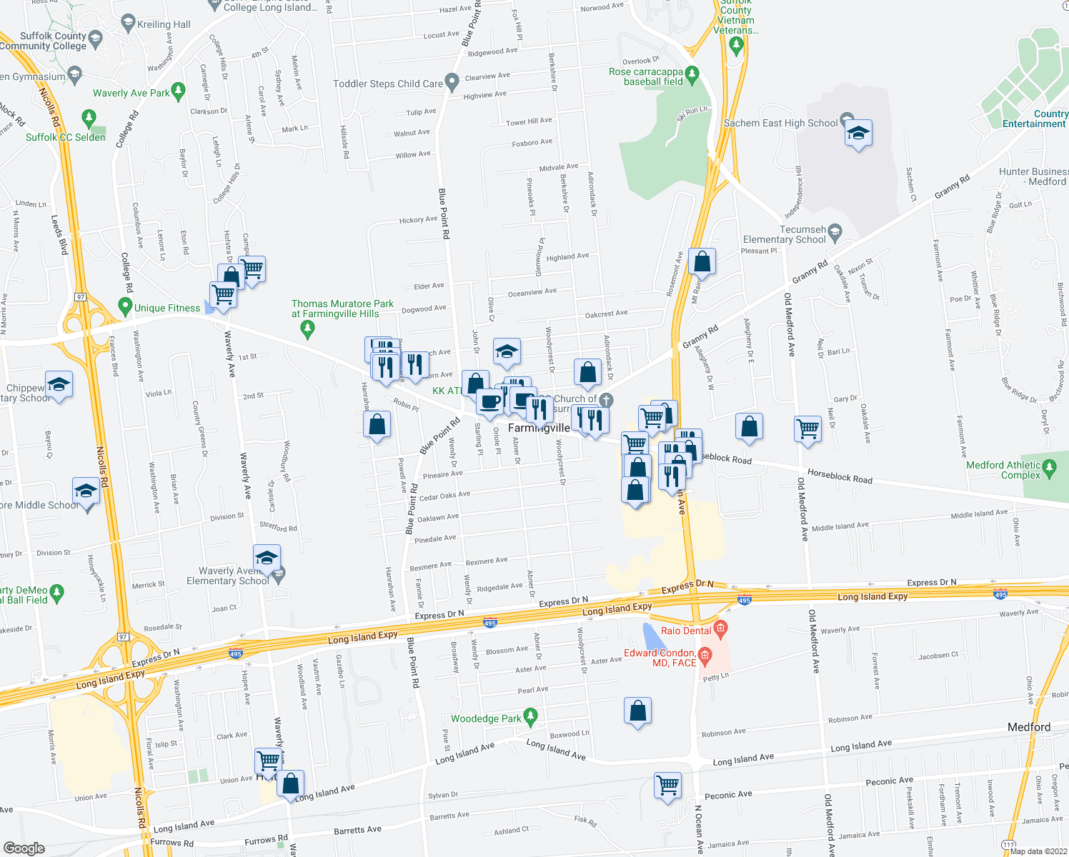 map of restaurants, bars, coffee shops, grocery stores, and more near 790 Horseblock Road in Farmingville