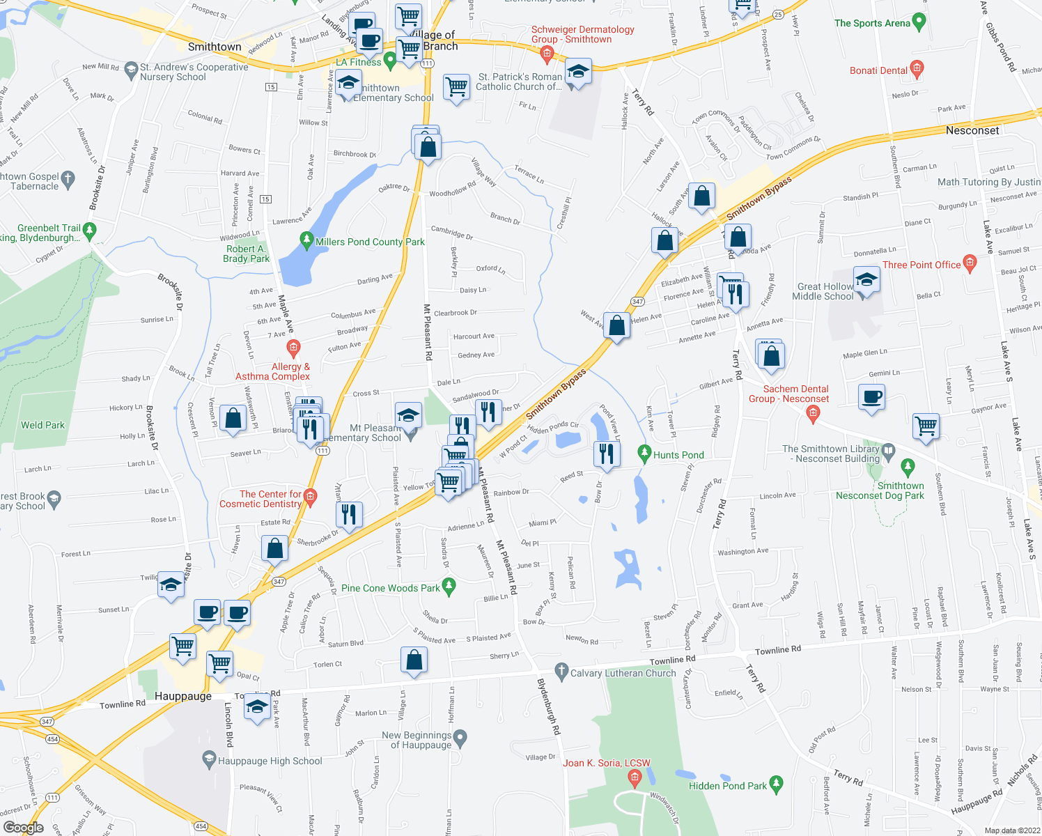 map of restaurants, bars, coffee shops, grocery stores, and more near Smithtown Bypass in Smithtown