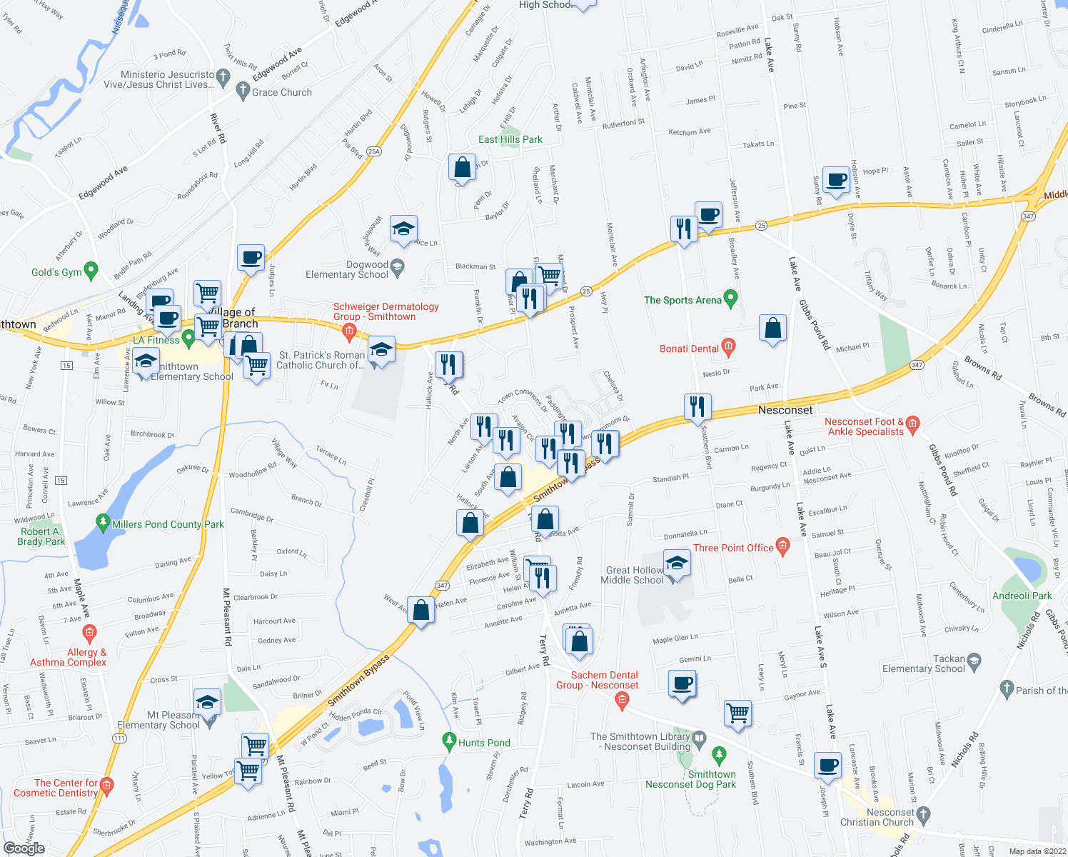 map of restaurants, bars, coffee shops, grocery stores, and more near 313 Avalon Cir in Nesconset